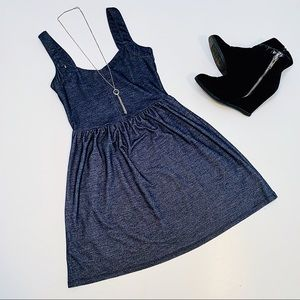 Denim Look Stretchy Tank Top Dress Blue Medium